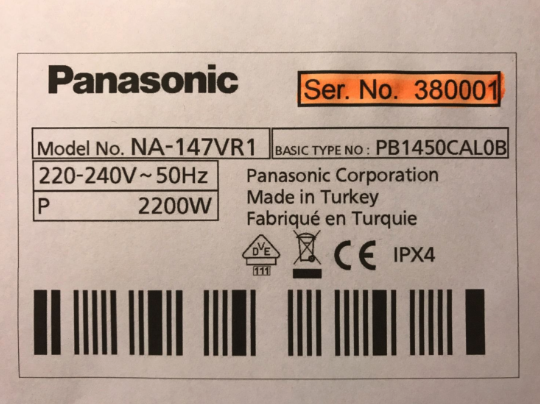 Panasonic label, typeskilt.png